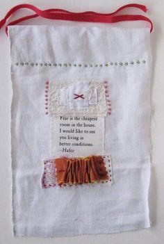 Small art quilt, prayer flag, no fear