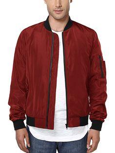 HEMOON Men's Casual Sportswear Lightweight Baseball Bomber Jacket L Red