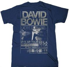Vintage David Bowie concert t-shirts at Rocker Rags! Click here for tees from his February 1976 Isolar Tour Los Angeles Forum shows! Free shipping!