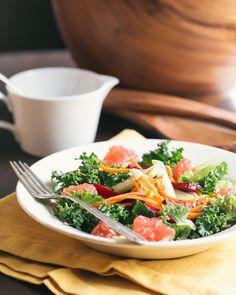 Beet, Kale, and Kohlrabi Salad with Grapefruit Vinaigrette