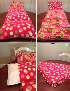Reversible, child nap bed. Made with 2 different kinds of soft fleece (reversible) and 4 bed pillows with matching fleece blanket (blanket video tutorial: http://www.youtube.com/watch?v=bSLBVCCuv6s).  I followed the tutorial for the bed from Southern Disposition Blog spot: http://southerndisposition.blogspot.com/2011/06/pillow-bed-tutorial.html  (but, I used thicker pillows). Very Easy sewing project.