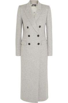 Alexander Mcqueen Double-breasted Peak-lapel Wool Coat In Grey Alexander Mcqueen Sale, Couture Coats, Coats For Women, Clothes For Women, Leather Apron, Cashmere Coat, Double Breasted, Wool Blend, Grey Coats