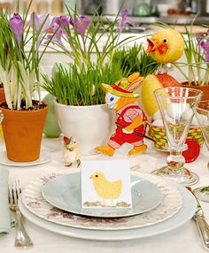 Very chic and stylish. The flowers in the centerpiece hides a beautiful egg each. Interesting and simple craft.  Quick idea for a makeover before you open the wine