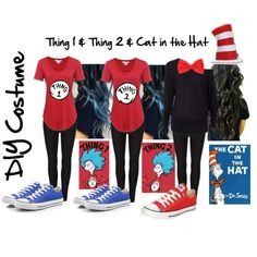 DIY Costumes: Thing 1, Thing 2, Cat in the Hat by kailey-nicole on Polyvore featuring Helmut by Helmut Lang, Mighty Fine, AllSaints, Converse and Elope