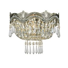Crystorama Sold Cast Brass Ornate Crystal Wall Sconce