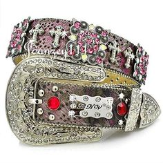 01abd1b1fe9e Women Western BHW Belt Pink Berry Cross LEATHER Scroll Cowgirl Rodeo  Rhinestone  BHW Cowgirl Belts