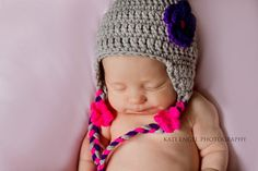 Baby hat Crochet baby girl hat with flower by LavenderBlossoms, $18.00