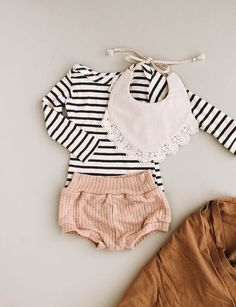 Mixing patterns and textures for a cute baby girl outfit.