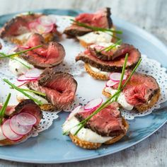 A terribly British canapé, perfect for the party season. Rare fillet beef and horseradish crostini with crisp radishes, yes please