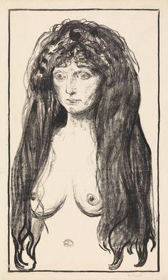 """Edvard Munch, """"Kvinne med rødt hår og grønne øyne. Synden"""" / arte, desnudo, mujer, femenino"""