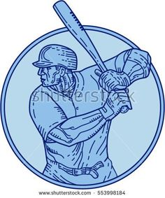 Mono line style illustration of an american baseball player batter hitter holding bat batting viewed from the side set inside circle on isolated background. #baseball #monoline #illustration