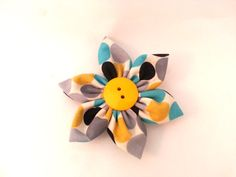 Flower for Dog Collar  Grey Black Yellow and Blue by TheEmPURRium, $7.25