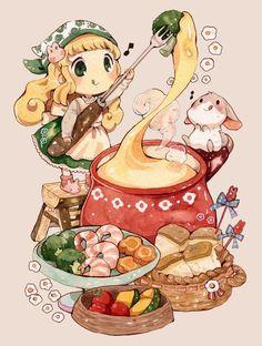 Chibi, Anime and Kawaii Manga Kawaii, Cute Anime Chibi, Kawaii Chibi, Kawaii Art, Cute Food Drawings, Kawaii Drawings, Cute Food Art, Cute Art, Art Anime