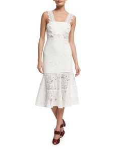 Alexis Bojana Sleeveless Lace Midi Dress, White