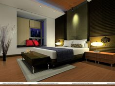 Master Bedroom Green Walls contemporary-bedroom-with-wood-floor-gray-bed-cover-and-dark-green