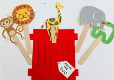 Dear zoo craft - make pop up animal puppets to learn about different animals Zoo Activities Preschool, Zoo Animal Activities, Zoo Animal Crafts, Toddler Activities, Preschool Activities, Speech Activities, Indoor Activities, Dear Zoo Book, Zoo Art