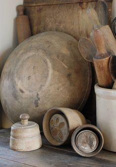 Old Primitive Wooden Ware & Butter Molds...