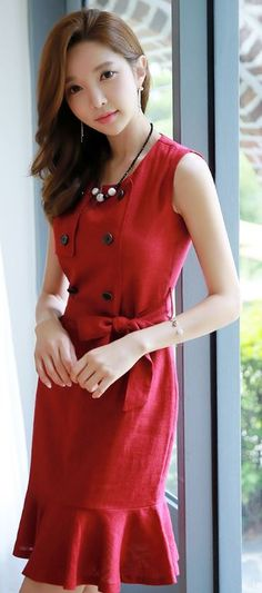 StyleOnme_Double Breasted Ribbon Waist Tie Sleeveless Dress #red #buttons…