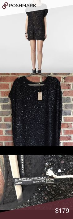 """Allsaints Embellished Elissa Tee Dress Sz 8 NWT Absolutely gorgeous Allsaints Spitalfields hand Embellished black Elissa Tee dress, size US 8. Brand new with tags!! Retails $270!! Great formal/ cocktail dress! Pit to pit: 26"""" length: 32"""". Measurements were taken flat laid. All Saints Dresses Mini"""