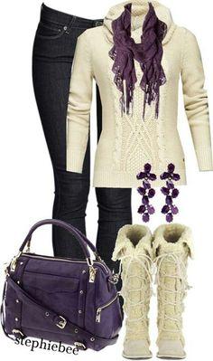 Purple, white sweater