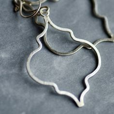 Moroccan Quatrefoil Silhouette Earrings, hand wrought with solid thick Argentium Sterling Silver