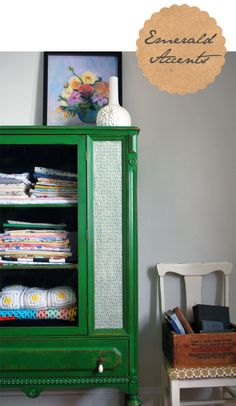 I'm loving emerald green accents lately. It's in my head as part of the colour scheme for our office (from http://birchandbird.com/a-shot-of-emerald   ...it won't pin the actual post for some reason)