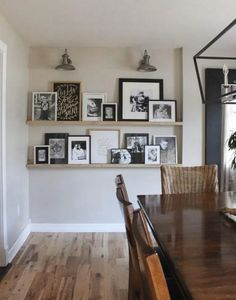 Creative ways to display family photos. If you need ideas for how to display your latest family photo session, this post is full of great ideas! wall ideas 7 Creative Ways to Display Family Photos - Love & Renovations Home Living Room, Living Room Decor, Picture Wall Living Room, Living Room Wall Shelves, Living Room Photos, Floating Living Room Shelves, Dining Wall Decor Ideas, Dinning Room Shelves, Living Room Walls