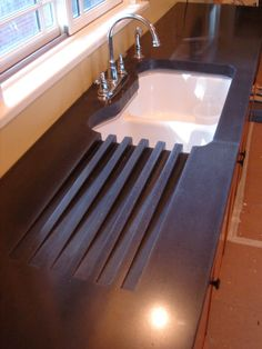 Concrete Countertop with Integral Drainboard