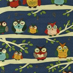 Robert Kaufman - Night Owl Club - Yellow, Blue & Red Owls on Long Cream Branches on Dark Blue Fat Quarter