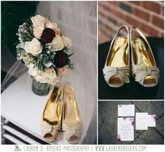 red, ivory and peach wedding bouquet, vintage wedding bouquet, vintage wedding flowers, gold wedding shoes, invitation inspiration, glamorous wedding celebrations at the reservoir wedding photos by Lauren D. Rogers Photography www.laurendrogers.com