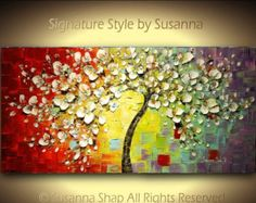 original painting art abstract expressionist impressionist cherry blossom multi color multicolored palette knife ready to ship 48x24 susanna