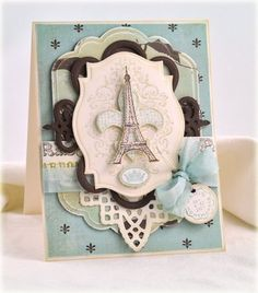 Paris...  Debbie Olson created this FAB card with wonderful ShabbyChic layers using 5 different stamps from Bon Voyage Set.  For all the details visit her blog.