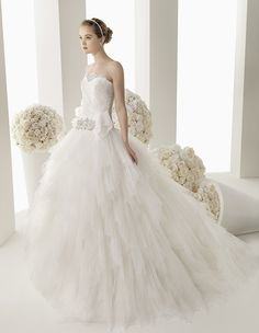 144 MAURO | Wedding Dresses | 2014 Two Collection | Rosa Clara (Shown with Beaded & Crystal Belt at waist)