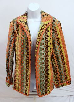 a la carte Retro Geometric Woven Jacket Coat Yellow Orange Blue Trim USA Made #alacarte #BasicJacket