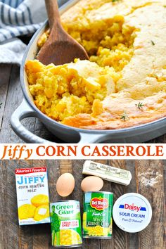 Jiffy Corn Casserole is an easy side dish recipe that& ready for the oven with just 5 minutes of prep! The simple, sweet corn pudding pairs perfectly with almost any cozy family dinner. It& a crowd pleasing option for Thanksgiving or Christmas, too! Side Dishes Easy, Side Dish Recipes, Rice Side Dishes, Dinner Side Dishes, Thanksgiving Recipes, Holiday Recipes, Easter Recipes, Easy Family Dinner Recipes, Easy Thanksgiving Side Dishes