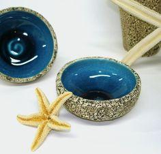 Blue Geode Bowl, small serving salt and pepper spice pinch trinket dish kitchen bowls Desert salad textured stoneware porcelain dining.    Made