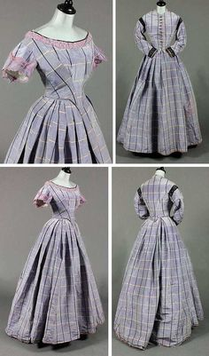 evening gown with sleeves Lilac tartan moiré taffeta gown with day and evening bodices, ca. 1860. Day bodice button-fronted with black braid bands to shoulders and cuffs, cut low and pointed to the front and high at the back; curved sleeves. Evening bodice with pronounced point to waist, puff sleeves, silk lace to the neck. Full, pleated skirt. Kerry Taylor Auctions/Artfact
