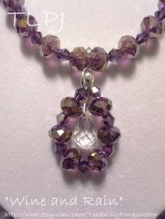 Purple crystal necklace and earring set by ToadsLilyPondJewelry, $25.00