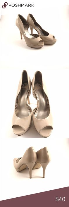 Fergalicious nude peep toe patent leather heels Pre-owned woman's nude patent leather peep toe heels.  Size 8M  see pictures for condition. Fergalicious Shoes Heels