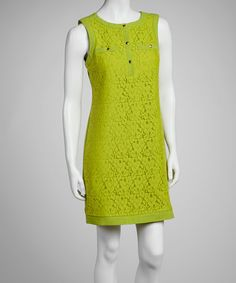 Take a look at this Lime Floral Lace Sleeveless Dress by Sandra Darren on #zulily today!