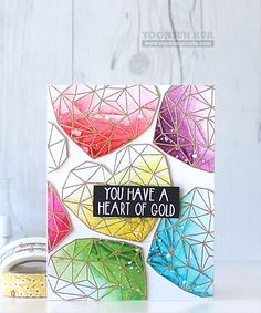 RejoicingCrafts: Neat and Tangled Heart of Gold Stamp Set, Distress markers by Yoonsun Hur