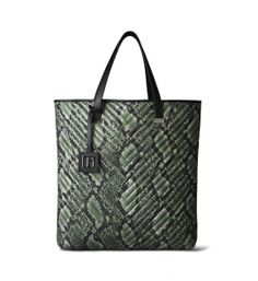 Newport Quilted Tote in Green Snakeskin by Jill Milan