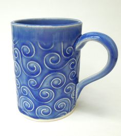 Love these, ordered them in different colors & styles. | Blue Swirl Textured Handmade Ceramic Pottery Coffee Mug via Etsy