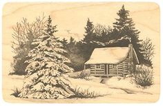 "{Single Count} Unique & Custom (4"" by 2 3/4"" Inches) ""Snowy Cabin Mountain Scene"" Rectangle Shaped Genuine Wood Mounted Rubber Inking Stamp mySimple Products"