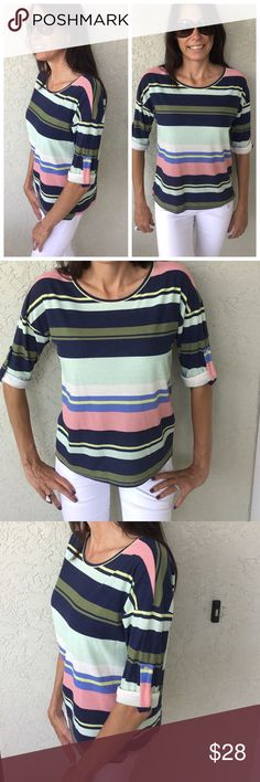Stripe Top S,M,L Great Spring and Summer top.  Ribbed striped top. 95% rayon and 5% spandex. Tops