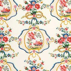 """""""Val de Loire"""" ~ Cotton fabric designed in the style of Marie Antoinette."""