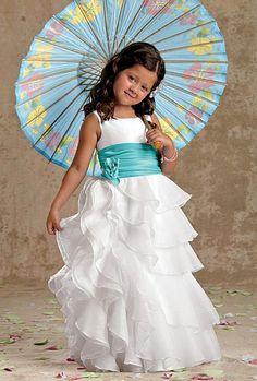 Sweet Beginnings Multi-Flounced Organza Flower Girls Dress L978