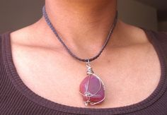 Eco mothers day African leather pink Agate necklace by Fianaturals, $42.00