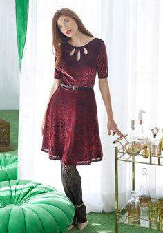 Present the Event Velvet Dress in Burgundy