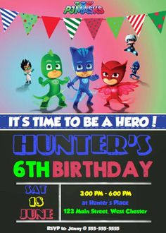 Designer Printable PJ MASKS Birthday Invitations by PoshPartyFairy 6th Birthday Parties, Birthday Crafts, 4th Birthday, Festa Pj Masks, Party Themes, Party Ideas, Gnome, Mask Party, Diy For Kids